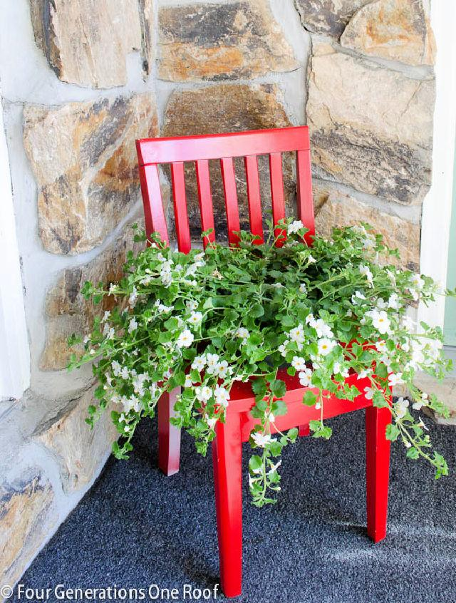 Flower Bed From Old Chair