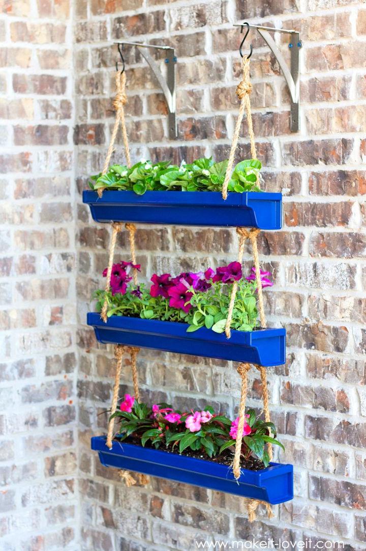 Hanging Rain Gutter Flower Beds