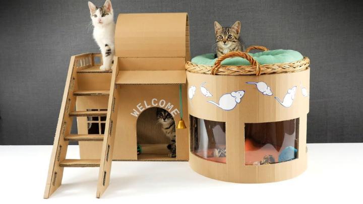 Kitten Cat Pet House from Cardboard