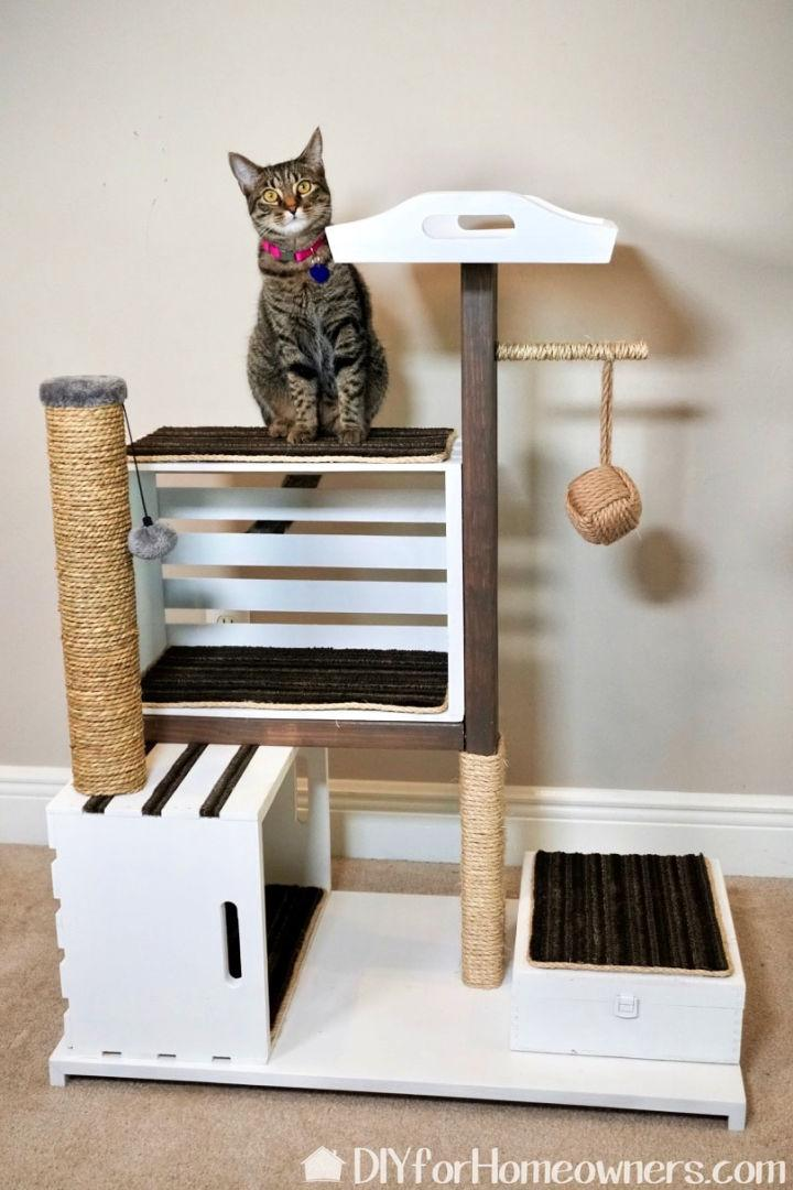 Modern Cat Condo with Wood Crates