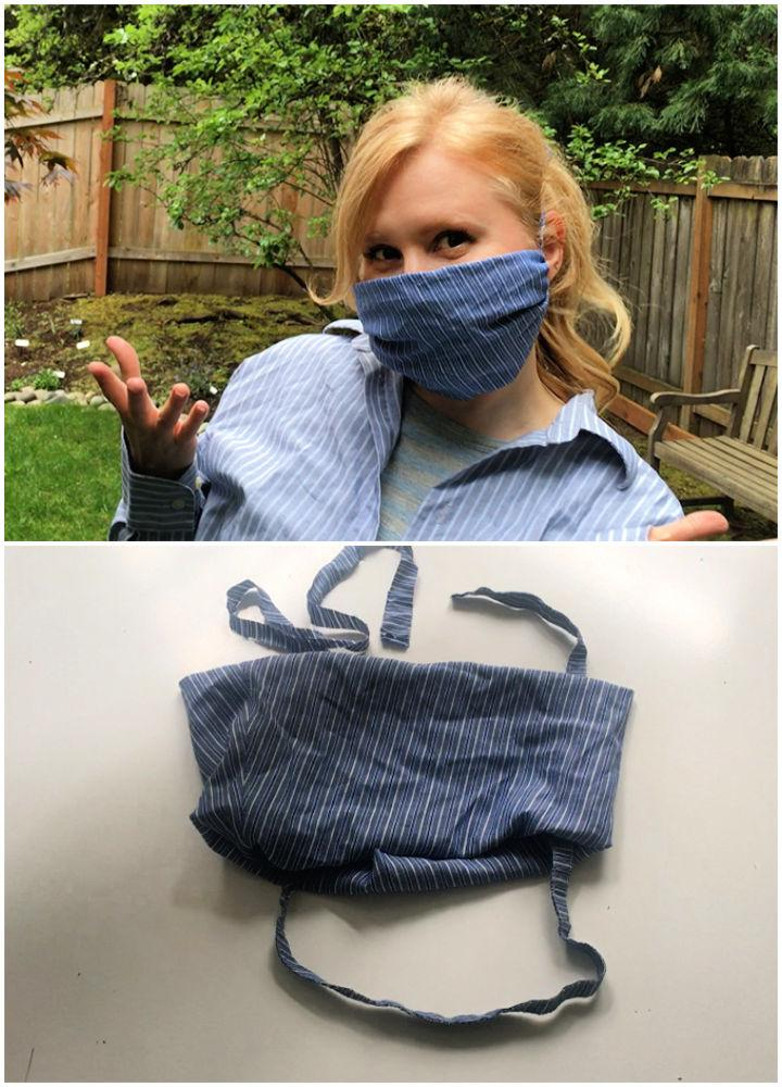 No Sew Face Mask from a Mens Shirt