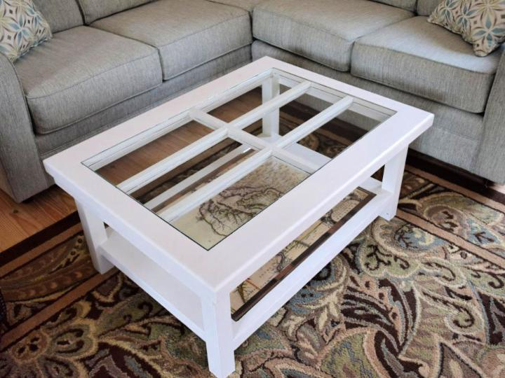 Old Door to Coffee Table with Glass Top