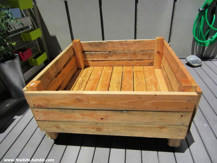 Raised Flower Bed On Casters For Patio Or Deck