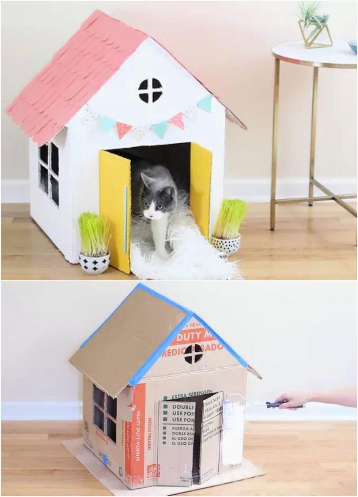 Turn Old Boxes Into An Adorable Cat House