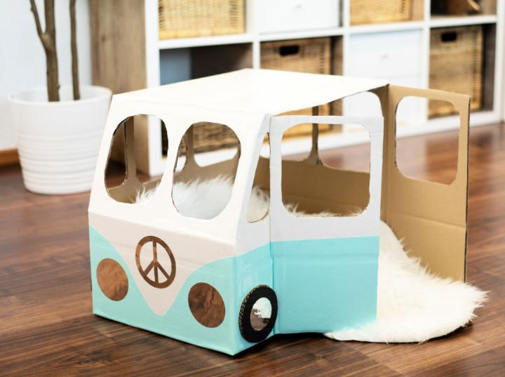 VW Bus Cat House Out Of Cardboard