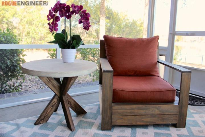 X Brace Side Table with Concrete Top