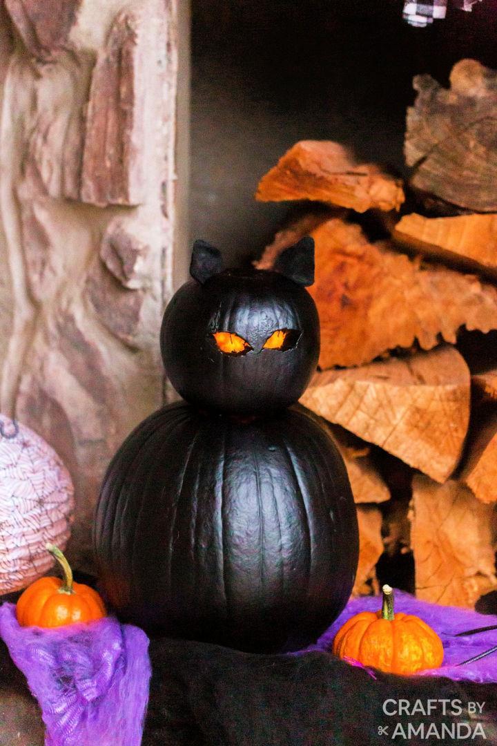 Black Cat Pumpkins Using Pray Paint