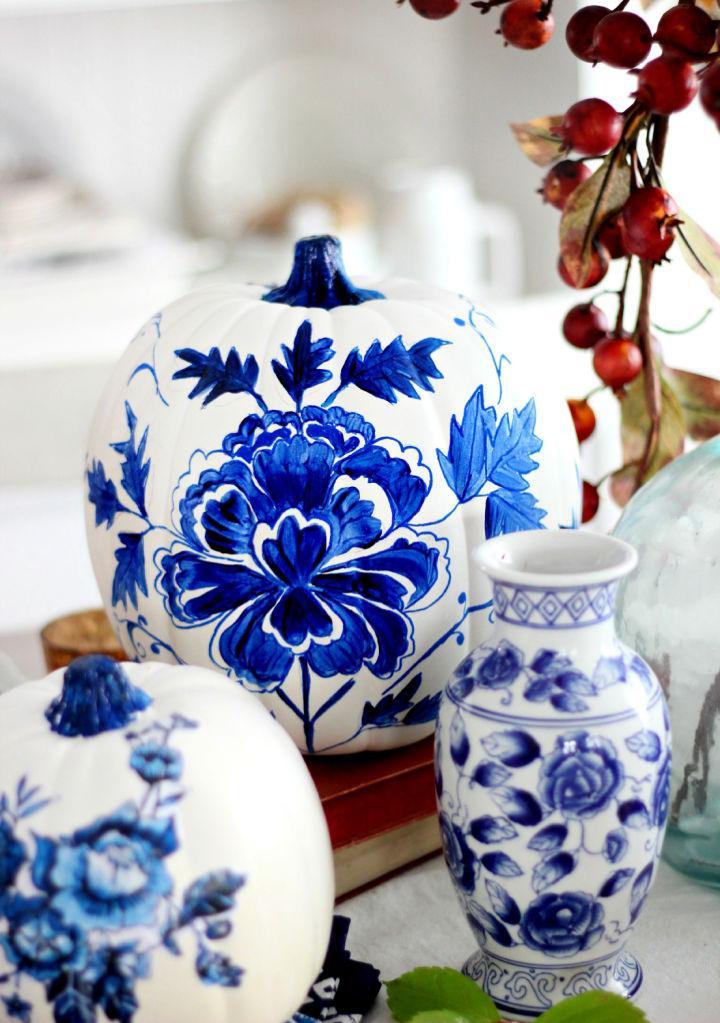 Blue Porcelain Craft Pumpkin