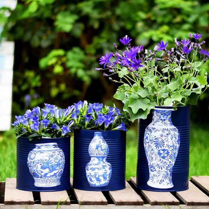 Blue and White Flower Pot Using Tin Can