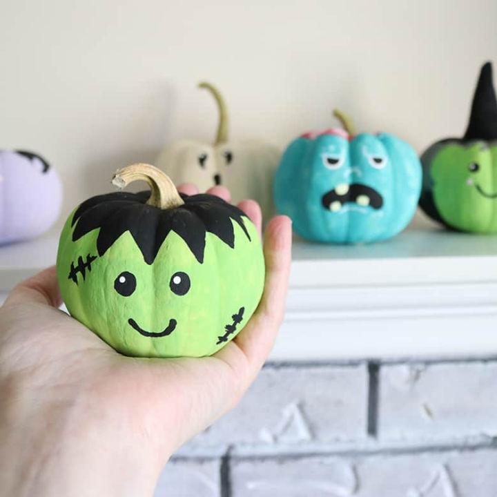 Cute Frankenstein Painted Pumpkin