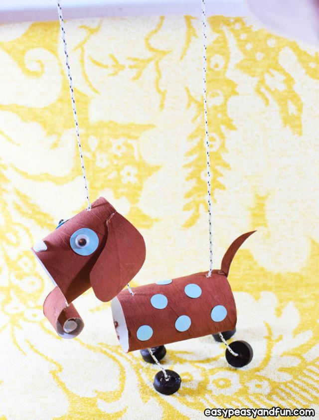 Toilet Paper Roll Dog Marionette Puppet