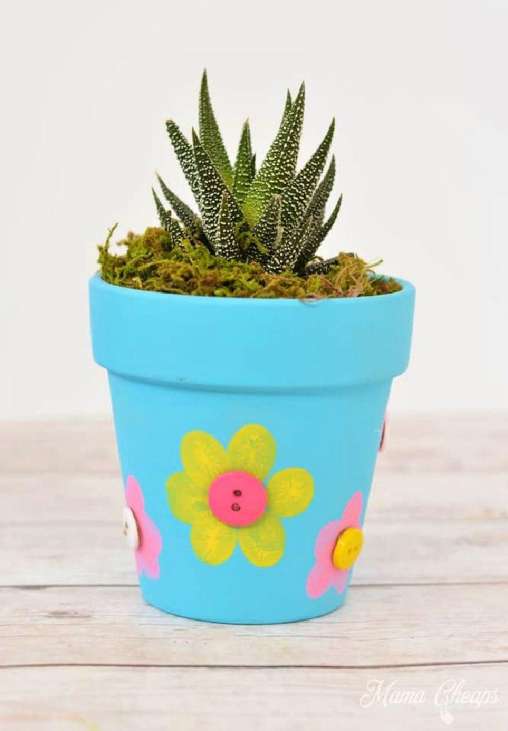 DIY Fingerprint Flowerpot for Kids