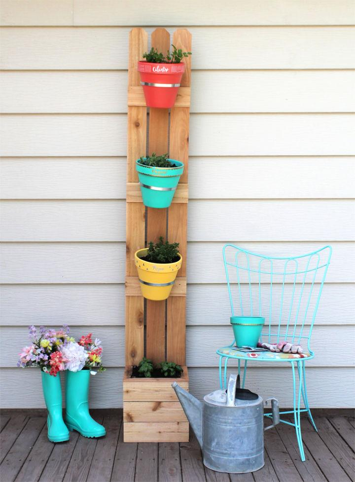 Garden with Fence Slats and Terra Cotta Pots