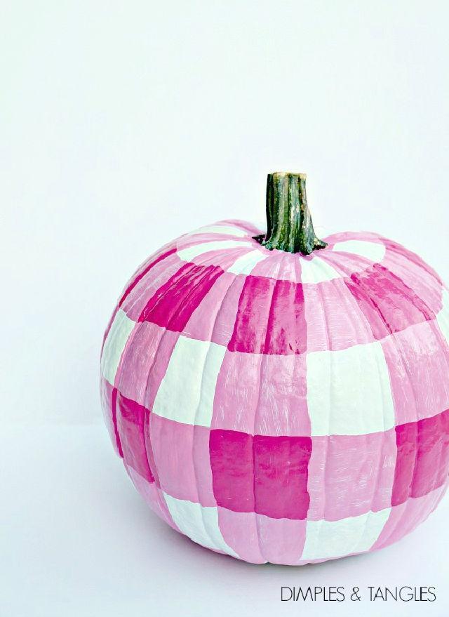 Gingham Painted Pumpkin Tutorial
