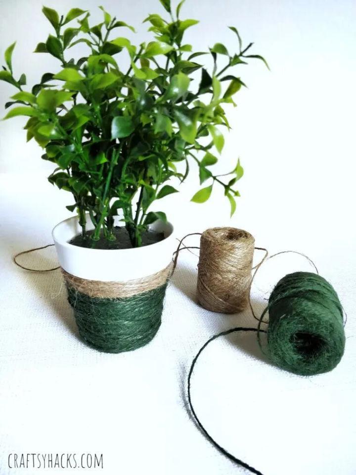 Green Yarn Wrapped Flower Pot