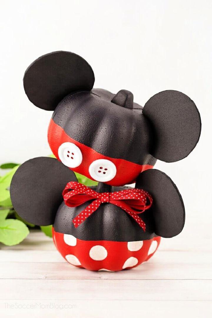 Mickey and Minnie Disney Painted Pumpkins