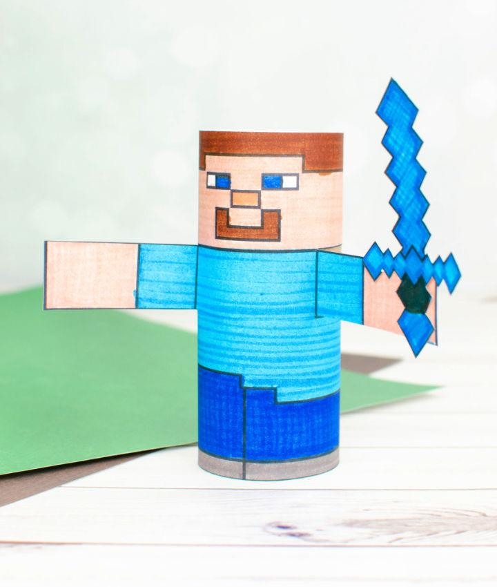 Minecraft Steve from Toilet Paper Roll