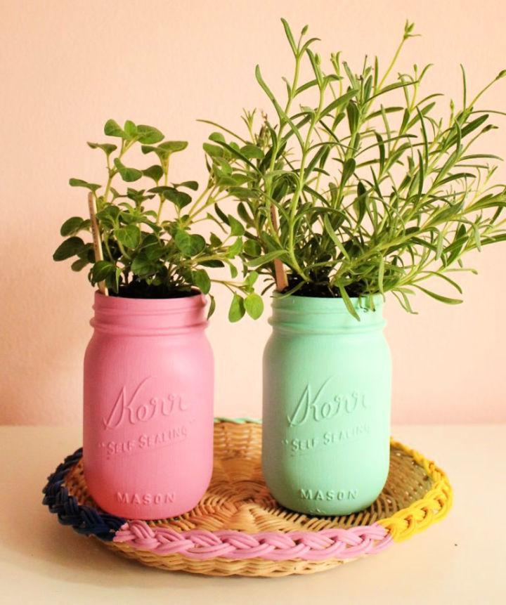 Painted Mason Jar Herb Garden