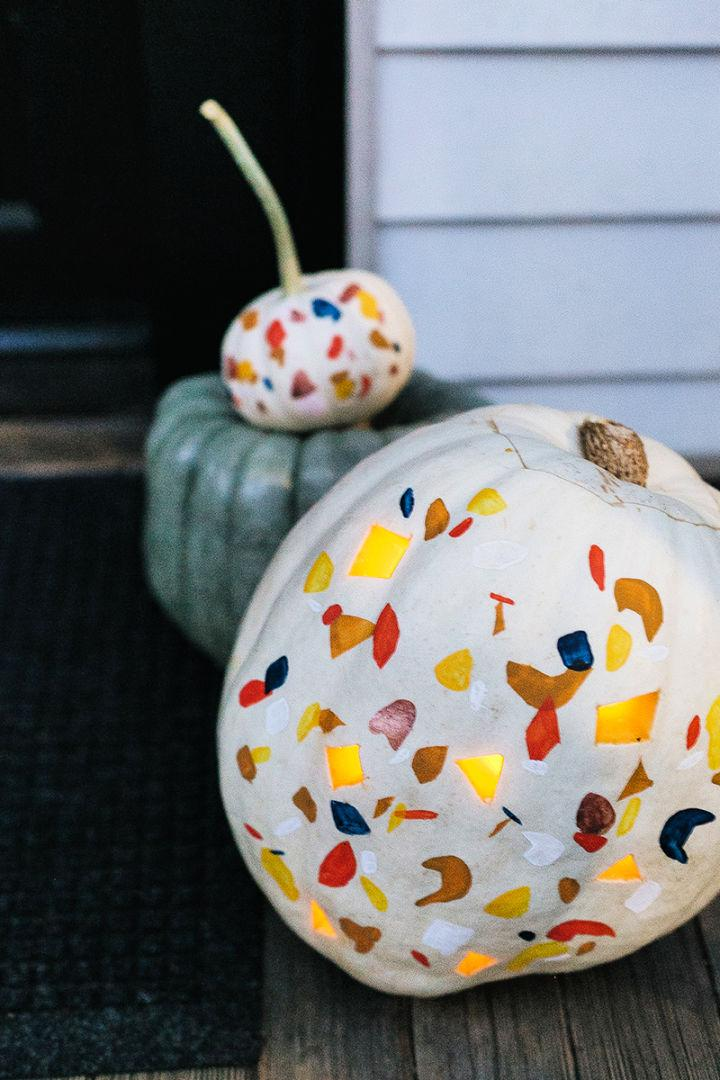 Painted and Carved Terrazzo Pumpkin