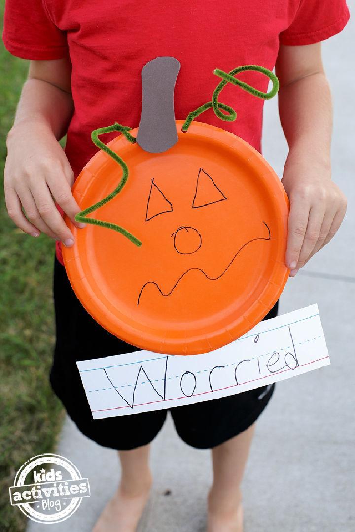 Paper Plate Feelings Pumpkin Craft