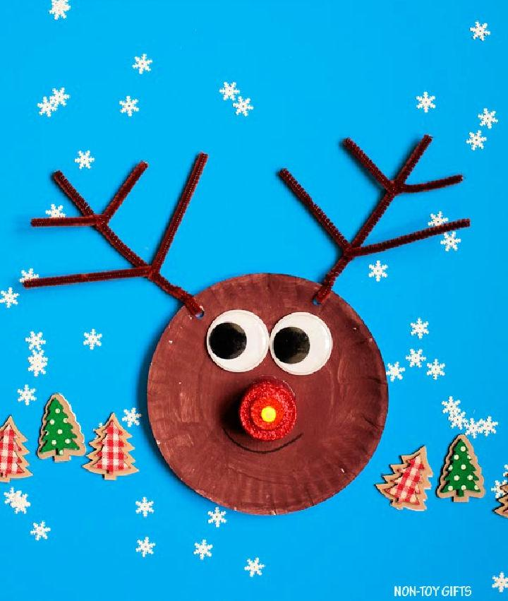 Paper Plate Reindeer with Glowing Nose