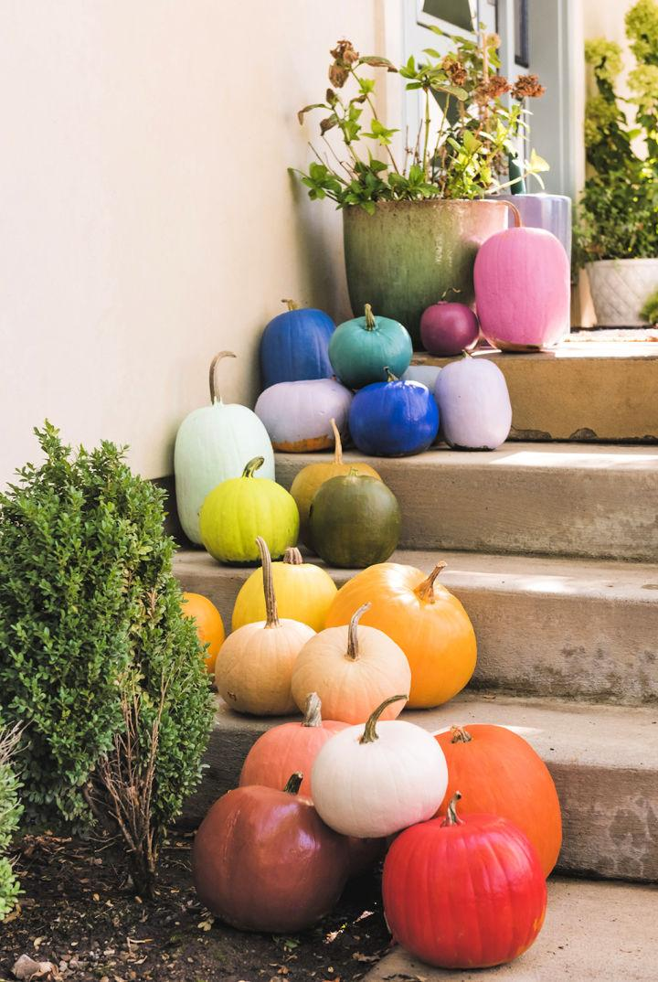 Rainbow Painted Pumpkins for Porch