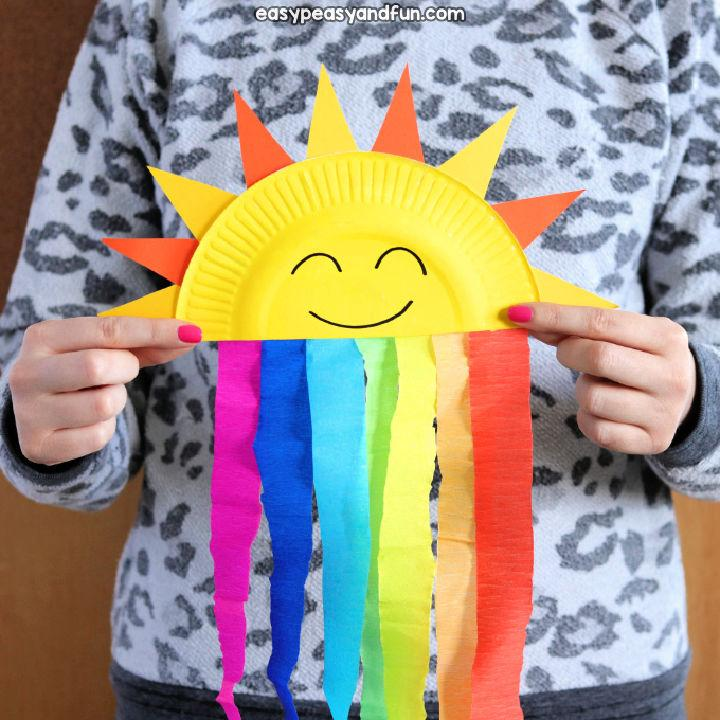 Sweet Paper Plate Sun and Rainbow