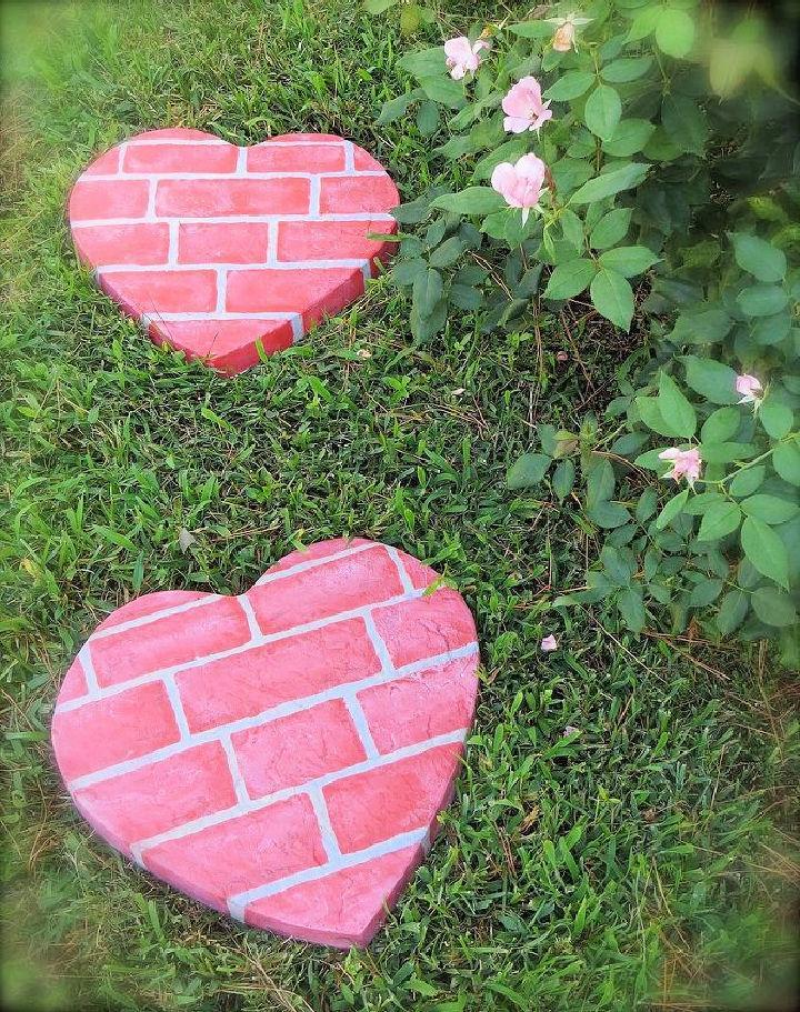 DIY Heart Stepping Stones