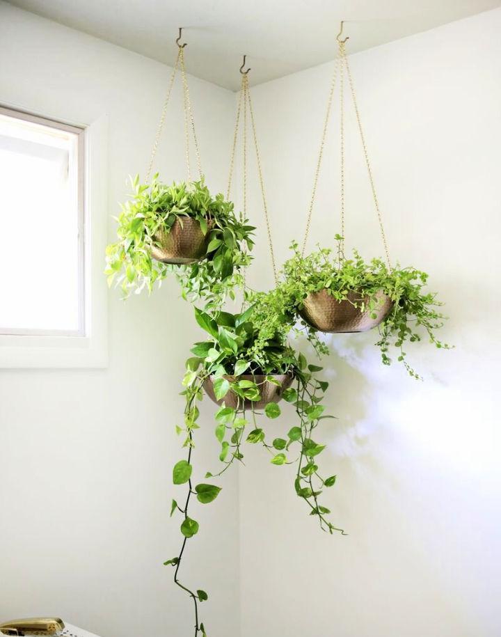 DIY Metal Hanging Planters