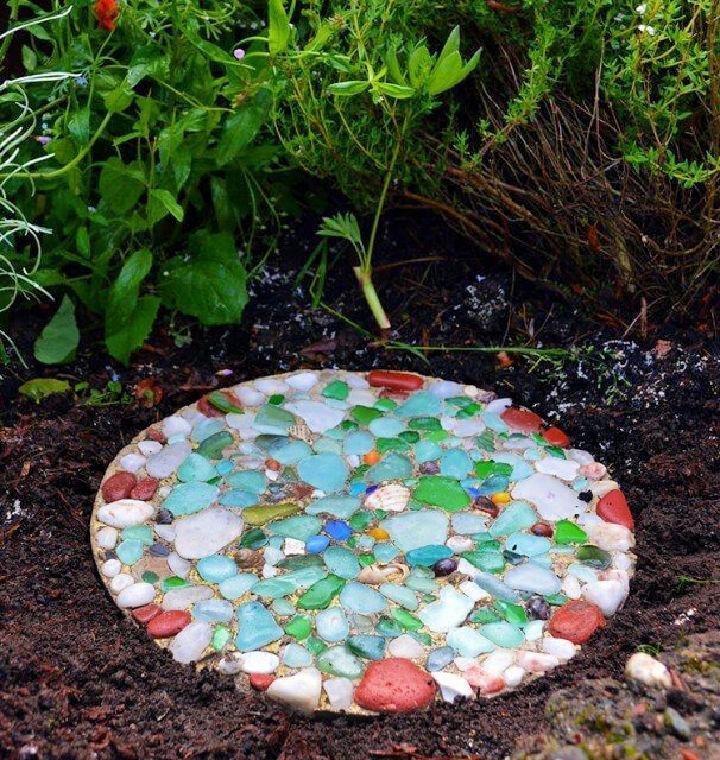 DIY Sea Glass Stepping Stone