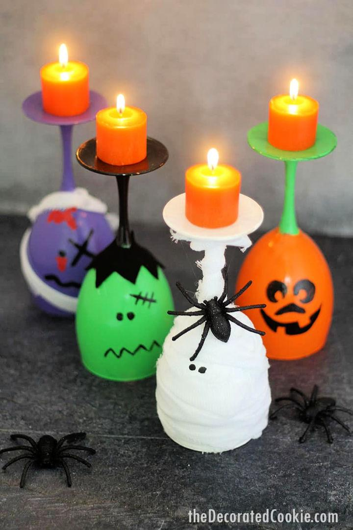 Simple Halloween Wine Glass Candles