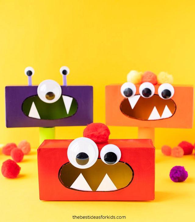 Tissue Box Monsters for Halloween