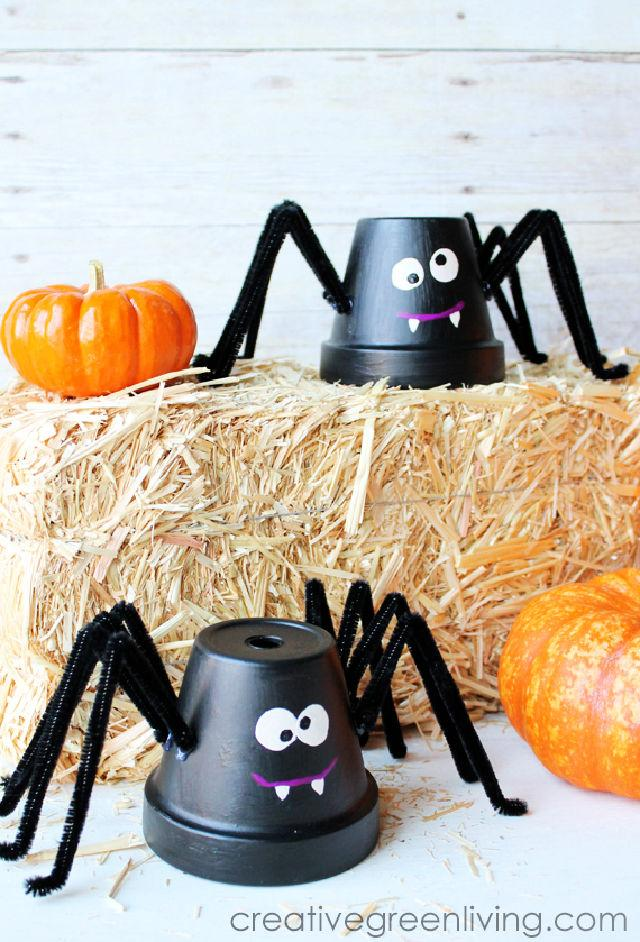 Upcycled Flower Pots Spiders for Preschoolers