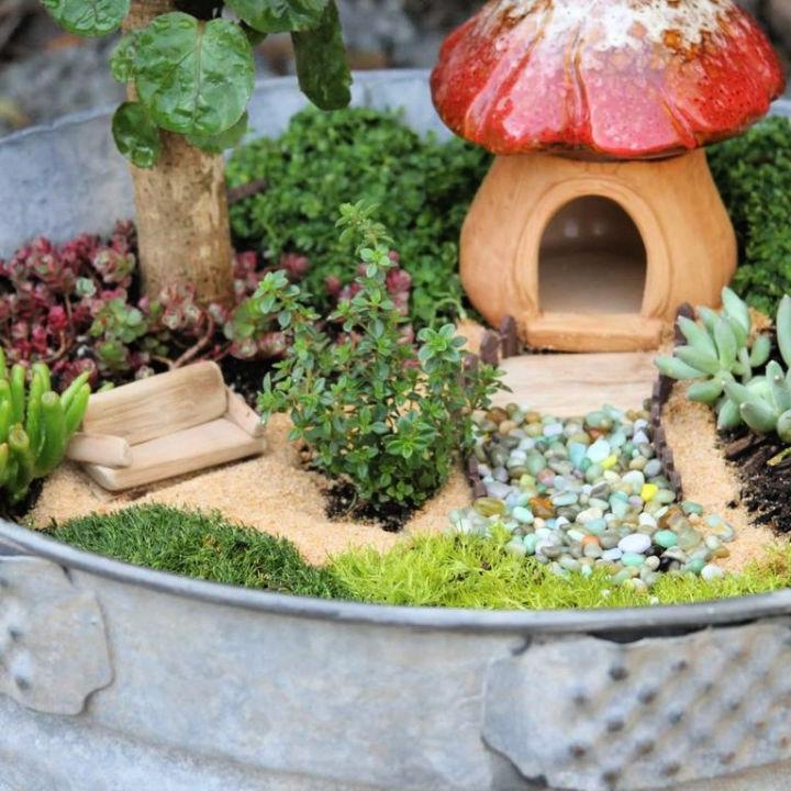 Wash Tub Fairy Garden House