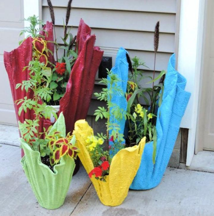 Cement Planter Using Old Towel or Cloth