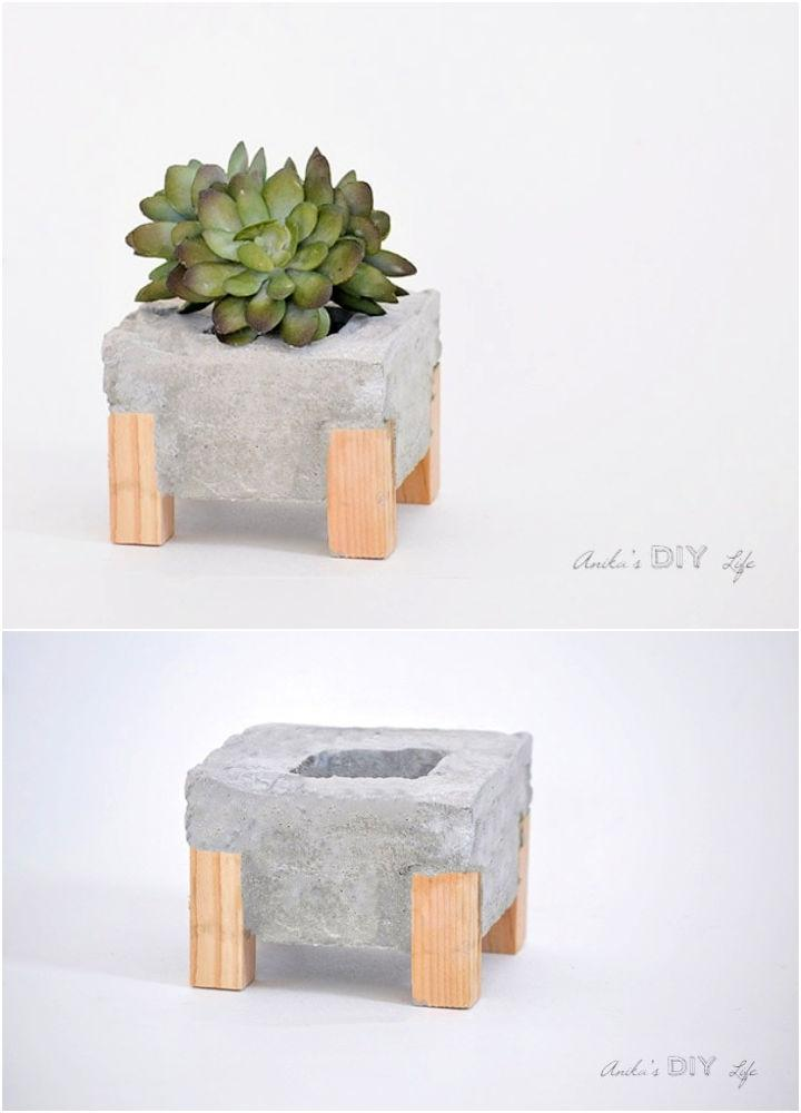 Concrete Planter With Wood Feet