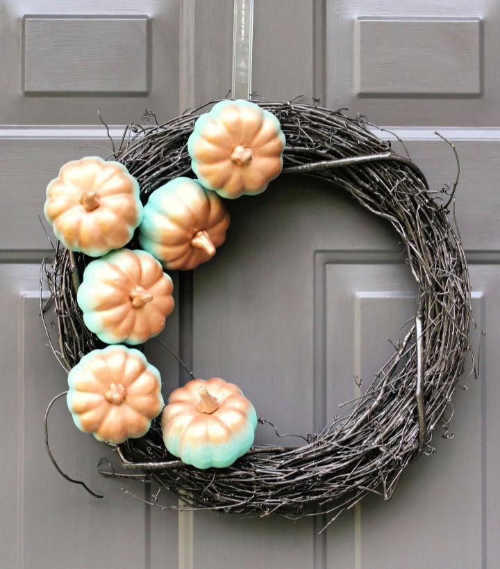 Copper And Aqua Gradient Pumpkin Wreath