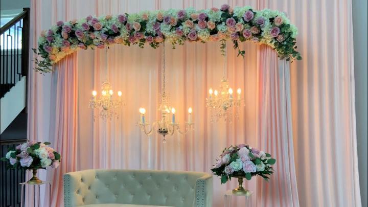 Curved Floral Wedding Backdrop