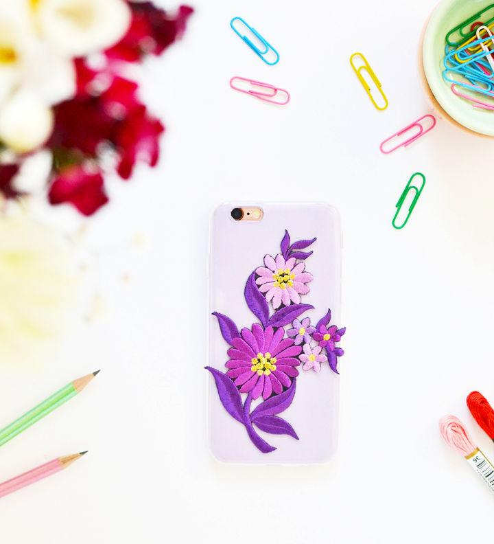 DIY Embroidered Patch Phone Case