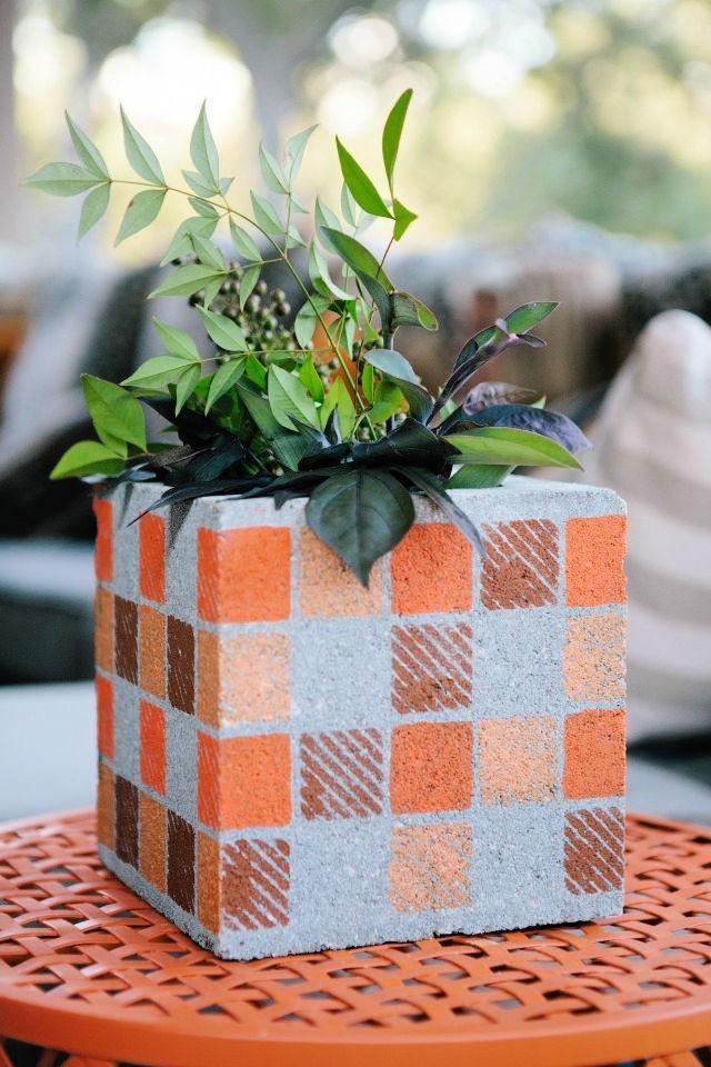 DIY Painted Cinder Block Planter