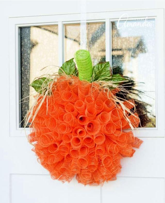 Deco Mesh Pumpkin Wreath