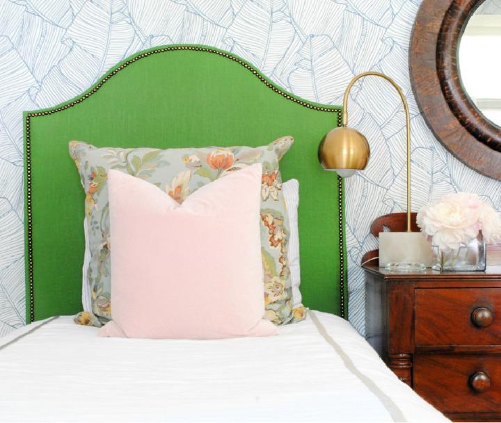 Easy DIY Upholstered Headboard in Guest Room