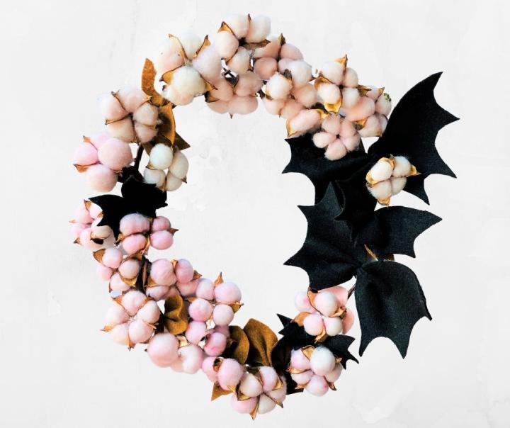 Halloween Cotton Wreath