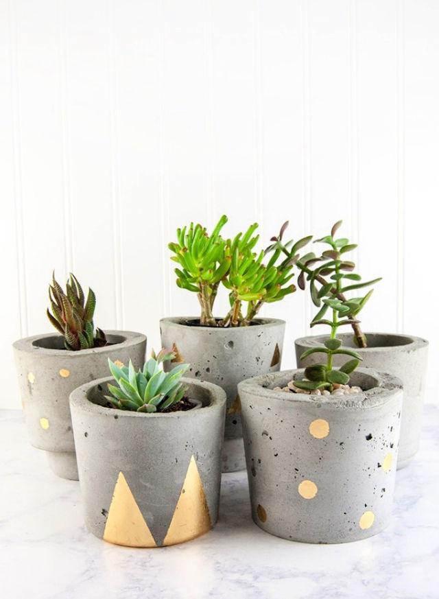Make Concrete And Gold Plant Pots