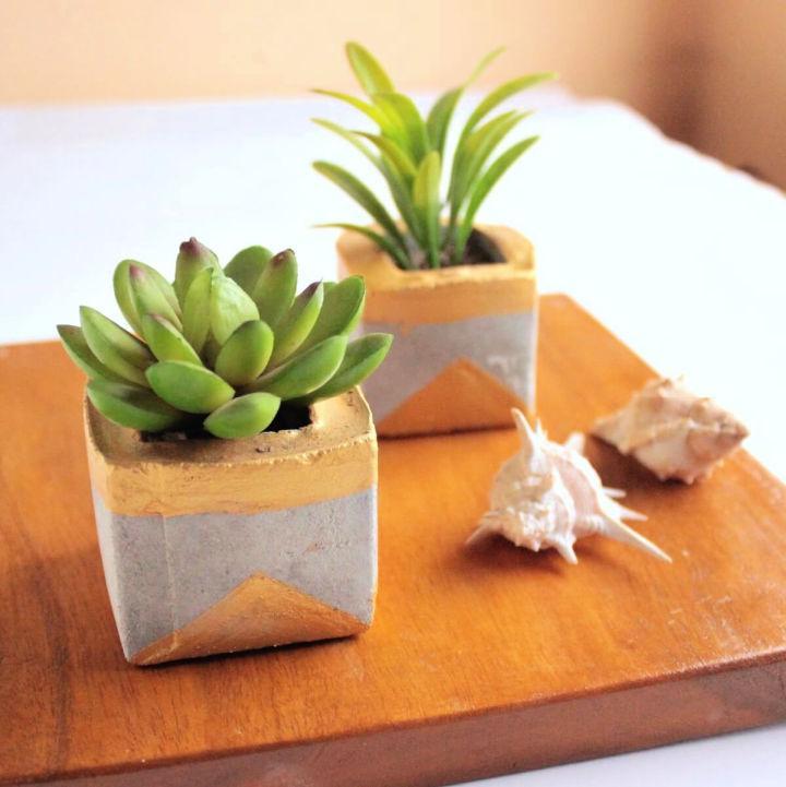 Making Gold Concrete Succulent Planters