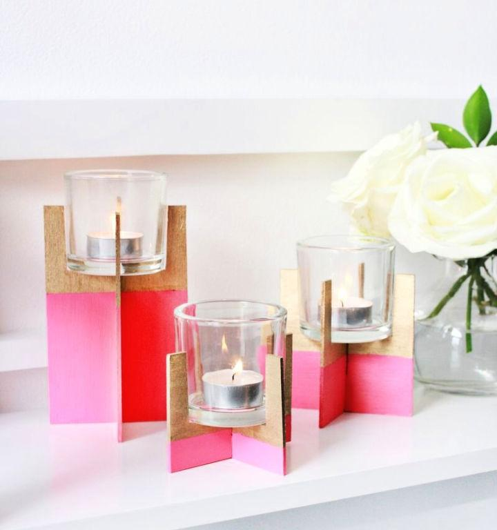 Paint Dipped Balsa Wood Candle Holder