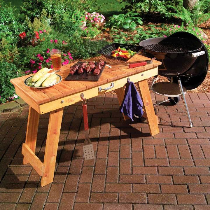 Wooden Fold Up Grill Table