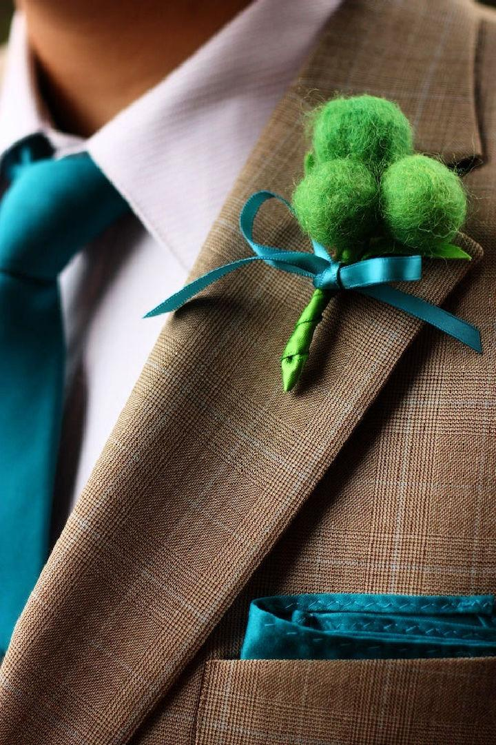 DIY Wool Felted Ball Boutonniere