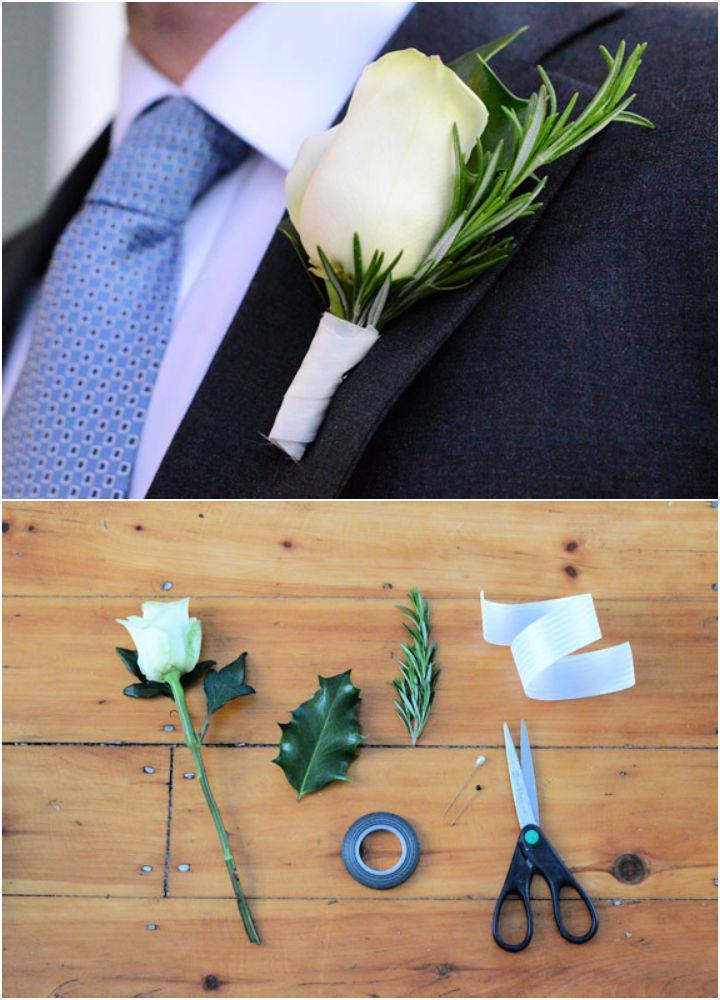 Easiest DIY Wedding Boutonniere