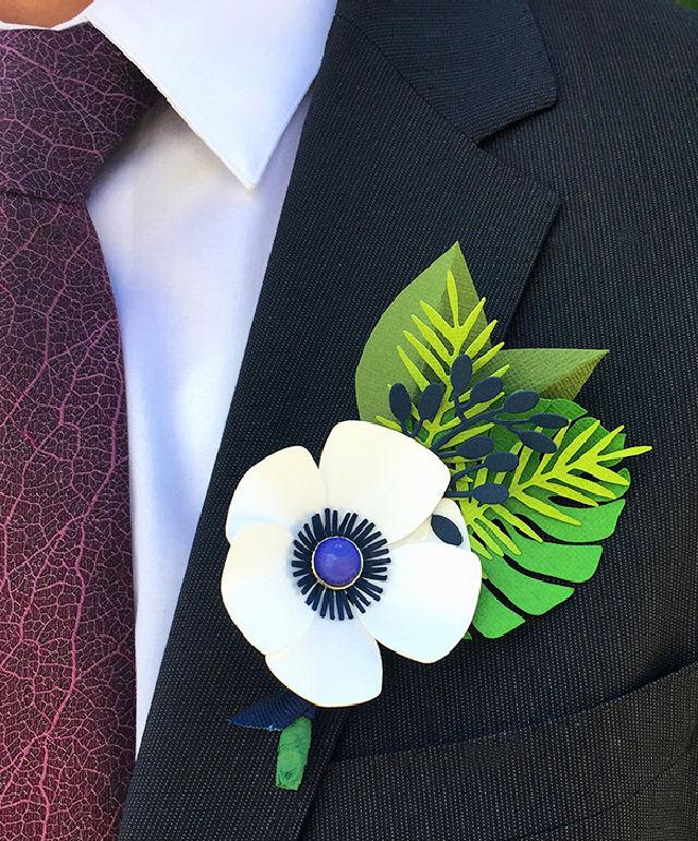 Fathers Day Flower Paper Boutonniere